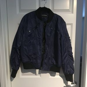 Express Black and Blue Bomber Jacket